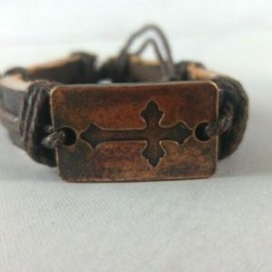 Jewelry - Leather Cuff With Cross Charm